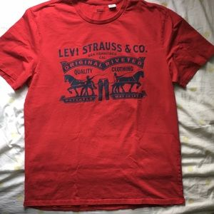 Red Levis Logo Tee
